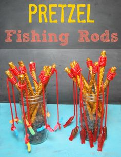 pretzel fishing rods-- this would be so cute for a baby shower or birthday party! First Birthday Parties, Birthday Party Themes, First Birthdays, Birthday Ideas, Bar A Bonbon, Preschool Snacks, Preschool Birthday Treats, Camping Parties, Camping Lunches