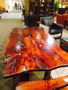 Wood table with turquoise insets