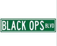 "metal street sign Black Ops blvd Street sign game room decor  24""L x 6""H"