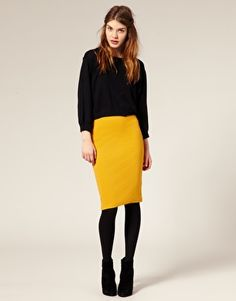 ASOS Ribbed Jersey Pencil Skirt - love this whole get-up