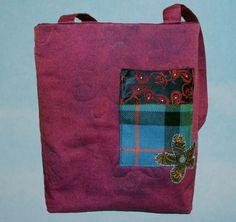 Handbag, Tote Purple Denim  by Booboo Bags