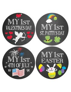 My Baby's First Holiday Stickers, Baby milestone stickers, Christmas, thanksgiving, halloween, valentines day, st patricks day, easter by StickerBerry on Etsy https://www.etsy.com/listing/203391956/my-babys-first-holiday-stickers-baby