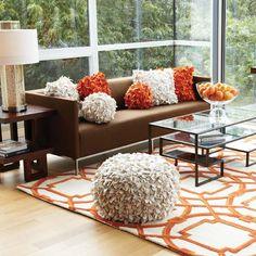 Global Views Tangelo Square Pillow #zincdoor #colorcrave #hermes #orange