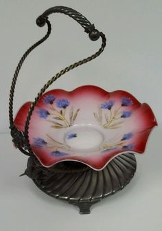 Antique Silverplate Hand Painted Flowers Cased Glass Brides Basket by Meriden B   eBay