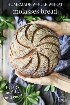 Keep up your clean eating habits with this easy recipe for healthy whole wheat molasses bread. It's a rustic, crusty loaf that's slightly sweet—perfect for toast at breakfast or for sandwiches at lunch. It also contains fiber and protein to keep you full. No Knead Bread, Sourdough Bread, Yeast Bread, Cooking Bread, Bread Baking, Bread Food, Gourmet Recipes, Cooking Recipes, Cooking Tips