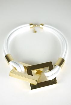 Square Link Necklace - White
