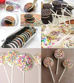 Yummy Sprinkled Oreo Cookies and Pops - www. , kids party Yummy Sprinkled Oreo Cookies and Pops - www. Oreo Cake Pops, Cookie Pops, Oreo Frosting, Kreative Desserts, Oreo Biscuits, Apple Smoothies, Salty Cake, Chocolate Covered Oreos, Dipped Oreos