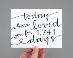 Personalized Greeting Card // Today I Have Loved You For So Many Days (White)