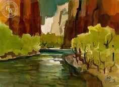 Virgin River, Utah, 1976, California art by Milford Zornes. HD giclee art prints for sale at CaliforniaWatercolor.com - original California paintings, & premium giclee prints for sale