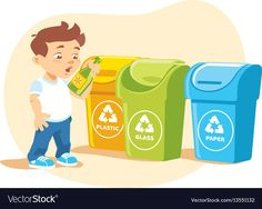 Little boy recycling garbage Royalty Free Vector Image
