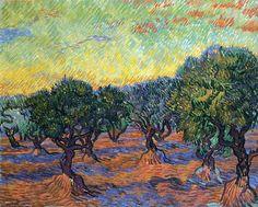 Olive Grove - Orange Sky by @artistvangogh #postimpressionism