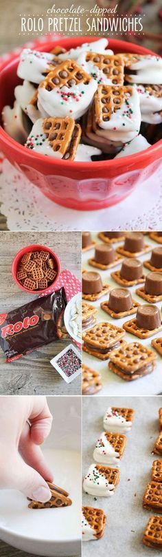 One of my favorite parts of Christmas is all of the yummy treats everyone makes! These Rolo Pretzel Sandwiches are the perfect bite sized treats! 100 Days of Homemade Holiday Inspiration continues tod (christmas desserts easy) Christmas Snacks, Christmas Cooking, Holiday Treats, Holiday Recipes, Christmas Goodies, Christmas Candy, Christmas Parties, Christmas Recipes, Christmas Pretzels