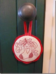 Christmas Redwork Ornament
