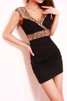 Vestido atractivo del estilo V-cuello sin mangas de gasa con lentejuelas del Club de Mujeres para Vender - La Tienda En Online IGOGO.ES