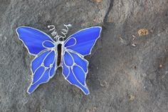 Blue Stained Glass Butterfly.