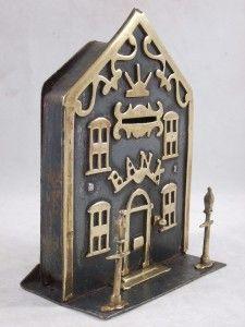 ANTIQUE FOLK ART BRASS IRON MONEY BOX CLOCK BANK HOUSE