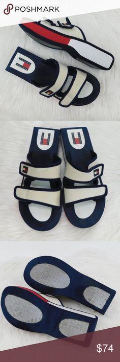 c9fc4098b Tommy Hilfiger Vintage 90s Foam Platform Slides Tommy Hilfiger Vintage  Women s Slide Sandals Size 9M Vintage