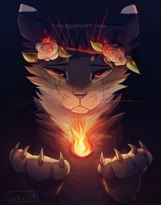 Feathertail& Sacrifice REDO by LokiDrawz on DeviantArt This is my fursona Loki with some fire c: When she is very angry / sad, her flower crown starts burning. I hope you like it! Character belongs to me. Warrior Cats Fan Art, Warrior Cats Series, Warrior Cats Books, Warrior Cat Drawings, Cute Drawings, Animal Drawings, Flower Drawings, Loki, Gato Anime