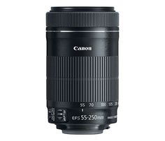 Canon - EF-S 55-250mm f/4-5.6 IS STM Telephoto Zoom Lens for Select Canon Cameras - Black - Larger Front