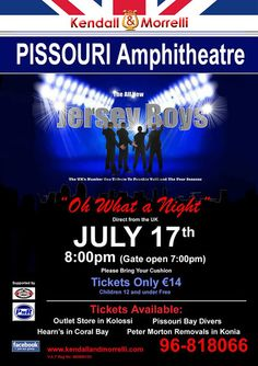 #JerseyBoys at #PissouriAmphitheatre 17/7... Tickets €14 from Pissouri Bay Divers. Bring a cushion and a coolbox! Details: www.kendallandmorrelli.com. Shared by Nikki at www.pissouribay.com.