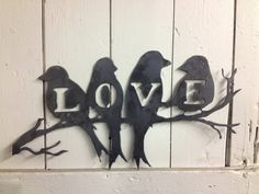 Love Birds Wall Art by BuckandFawnMetal on Etsy, $20.00