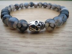 Agate Bracelet Black  Dragon Veins Agate by BohemianChicbead #spsteam