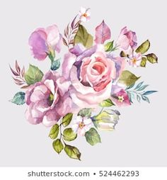 Similar Images, Stock Photos & Vectors of watercolor flowers. floral illustration, Leaf and buds. Botanic composition for wedding or greeting card. branch of flowers - abstraction roses, hydrangea - 1032867733 Simple Watercolor Flowers, Easy Watercolor, Watercolor Drawing, Floral Illustrations, Botanical Illustration, Pink Roses, Pink Flowers, Pink Flower Bouquet, Floral Artwork