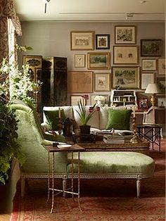 I love this room by Charlotte Moss. Love the gallery wall & I adore the green velvet chaise. You could walk into this room & feel instantly at interior design 2012 decorating before and after interior design decorating room design Living Room Photos, Living Room Decor, Living Rooms, House Rooms, Living Area, Interior Inspiration, Room Inspiration, Interior Ideas, Decoration Palette