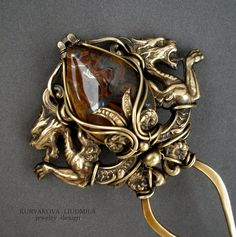KJFH 3 hairpin, brass, tiger's eye, forging, patina.  by KL-WireDream on DeviantArt