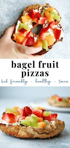 Bagel fruit pizzas are an EASY + HEALTHY recipe for kids to have fun with! Bagels (mini or regular) are topped with cream cheese and fresh fruit, put everything out and let your kids create a breakfast masterpiece. Healthy Vegetarian Breakfast, Healthy Breakfast For Kids, Breakfast For Dinner, Healthy Meals For Kids, Healthy Snacks, Fruit For Breakfast, Easy Kid Breakfast Ideas, Healthy Cereal For Kids, Cooking For Kids