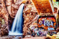 Rainbow Falls in Manitou Springs Waterfall in Manitou Springs, Colorado.