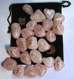 Rose Quartz Astrology Rune Stone set - Symbols included are the 12 Zodiacal Signs and 12 Symbols are Planetary Correspondents. Crystals And Gemstones, Stones And Crystals, Swarovski Crystals, Magick, Witchcraft, Chakra Symbole, Rune Stones, Healing Stones, Witch Aesthetic