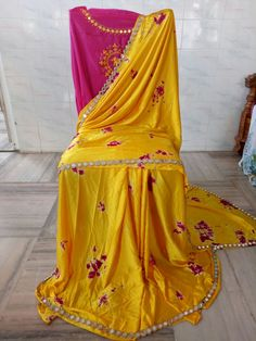 Satin shibouri sarees with mirror work lace and embroidery blouse