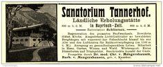 Original-Werbung/ Anzeige 1908 - SANATORIUM TANNERHOF / BAYRISCH - ZELL - ca. 115 x 45 mm