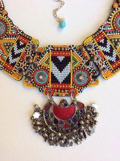 Beaded Bib Necklace with Vintage Kuchi Pendant by perlinibella
