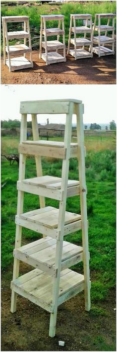 You can make a lot of items like ladder and all that is available in the markets in the wooden material, making a ladder Recycled Pallets, Wooden Pallets, Wooden Diy, House Chores, Diy Pallet Projects, Pallet Ideas, Colourful Cushions, Ladders, Pallet Furniture