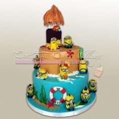 Minions on the beach - cake by Eliana Cardone - Cartoon Cake Village - CakesDecor Happy Birthday Minions, Cupcake Birthday Cake, Cupcake Cakes, 5th Birthday, Minion Cookies, Minion Cupcakes, Luau Cakes, Beach Cakes, Minion Cake Tutorial