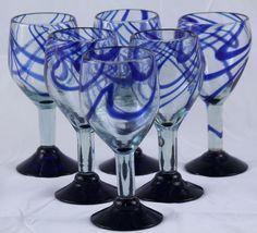 Mexican Wine Goblets/Glasses, Hand Made Cobalt Blue Swirls (set of 6) 12oz  http://www.ebay.com/itm/Mexican-Wine-Goblets-Glasses-Handmade-Cobalt-Blue-Rim-Bottom-Swirls-set-of-6-/221882679492?ssPageName=STRK:MESE:IT