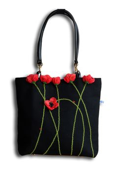 Appliqued Poppies on black bag