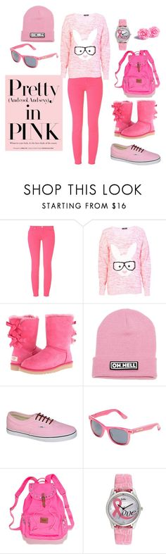 """:)"" by selmaj10 ❤ liked on Polyvore featuring 7 For All Mankind, UGG Australia, Vans, Betsey Johnson, Victoria's Secret PINK and Jolie"