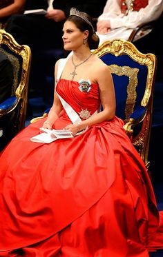 Crown Princess Victoria of Sweden attends the Nobel Prize award ceremony for Medicine, Physics, Chemistry, Literature and Economic Sciences at the Stockholm Concert Hall on 10.12.2014.