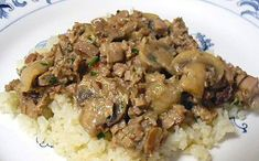 Low Carb Beef Stroganoff . . . It's not much to look at, but it was seriously delicious over the faux rice!! #recipe