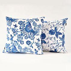Flower Bird throw pillow Blue and white porcelain series cushions 18 inch
