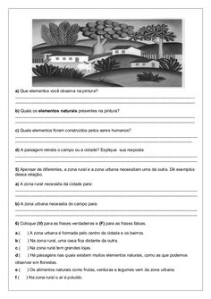 Obs.: Paisagem cultural = a paisagem humanizada ou modificada Kids Education, Primary School, Professor, Art Projects, Insight, Lily, Clip Art, How To Plan, Naruto