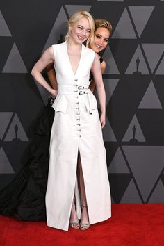 Emma Stone Bailed on Partying With Jennifer Lawrence, and Her Half-Done Glam Says It All