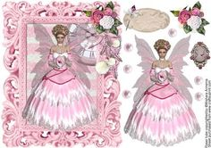Vogue1 on Craftsuprint designed by Mishara Armenia - Gorgeous pink fairy with vintage style frame - Now available for download!
