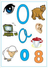 ALGOPEKES: Carteles de las vocales O 8, Montessori, Diy And Crafts, Preschool, Symbols, Activities, Superhero, Education, Reading