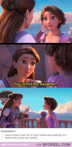 I actually think this would be an interesting plot twist... SOMEONE NEEDS TO WRITE SOMETHING ABOUT WHAT WOULD HAPPEN IF THE QUEEN WASN'T RAPUNZEL'S MOM.