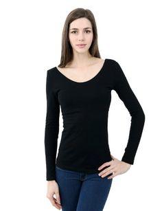 0dcd30cb1b2b0 Buy Doublju Womens Sheer Rib Long-sleeve Deep V-neck T-shirt at Indiana  Apparel