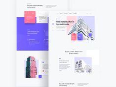Estabib - Real Estate Landing Page by Muh Salmon Minimal Web Design, Web Design Grid, Web Design Mobile, Flat Web Design, Web Grid, Layout Web, Page Layout Design, Website Design Layout, Wordpress Website Design
